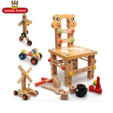 3D Montessori Educational toys wooden screw math toy for kids 2-4 year old removable assembling model blocks