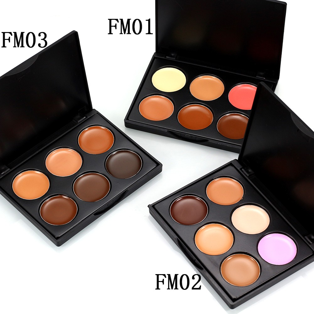 6 Color Face Cream Contour Kit Concealer Palette Bronzer Hide Blemish Dark Eye Circle Cover Finish Makeup Set image