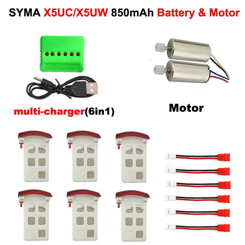 Syma X5UW & X5UC RC Quadcopter Battery Capacity 3.7V 850mAh Lipo Battery&motor With Charger(6in1) RC Drone Spare Battery Parts