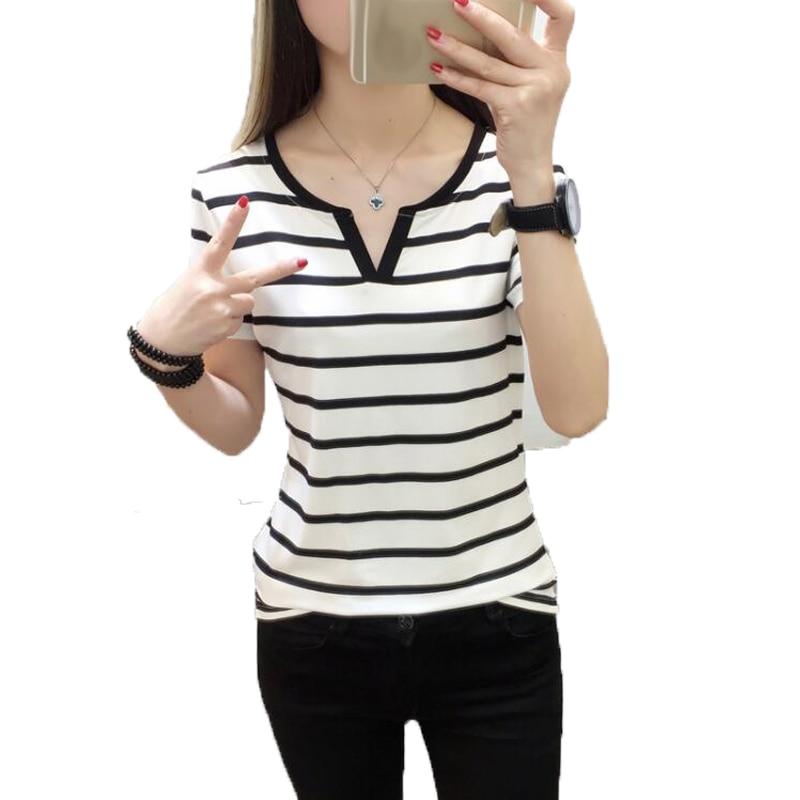 Ladies Korean T Shirts 2018 Summer Fashion Striped Female T-Shirt Slim Short Sleeve V Neck Cotton Tshirt Casual Basic Lady Tees