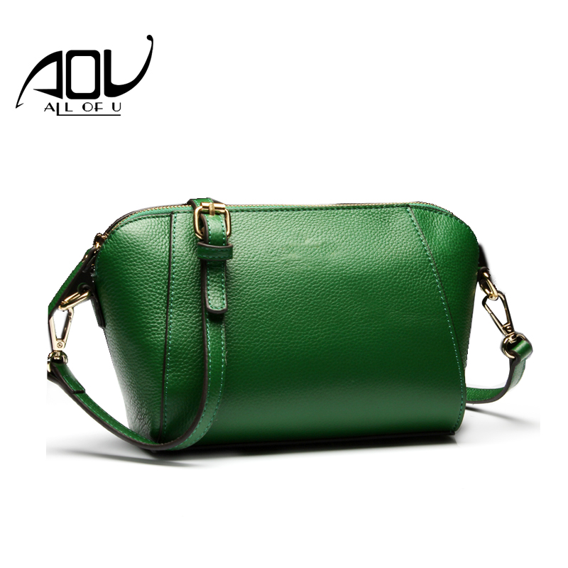 AOU Genuine Leather Bag for Women Luxury Brand Designer Cow Leather Handbags Ladies Casual Shoulder Messenger Bags Sac a Main цена и фото