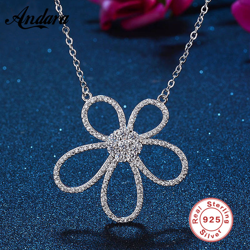 Real 925 Sterling Silver Sparkling Flower Pendant Necklaces For Women Luxury Exquisite Fine Jewelry