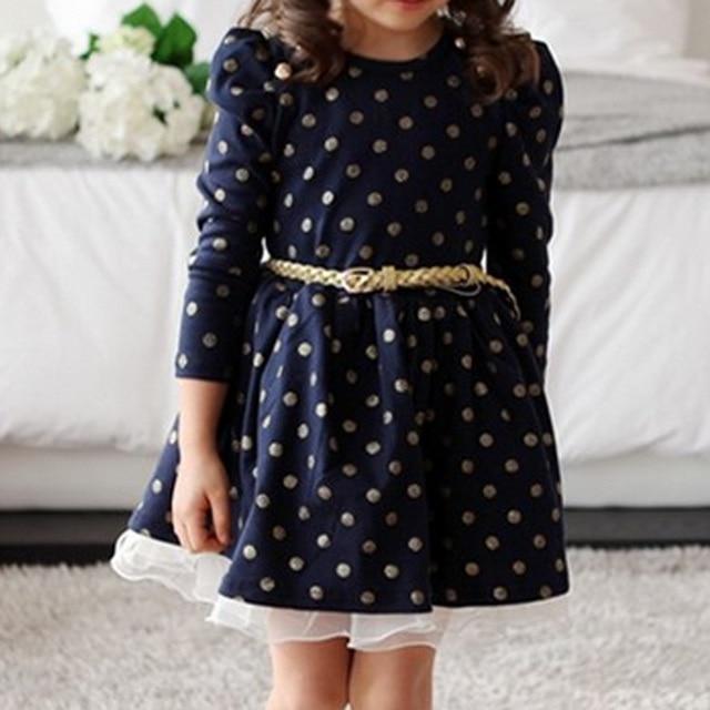 2df47f09322 Fille enfant élégant hiver automne 3 4 manches robe dentelle bord avec  ceinture décor princesse
