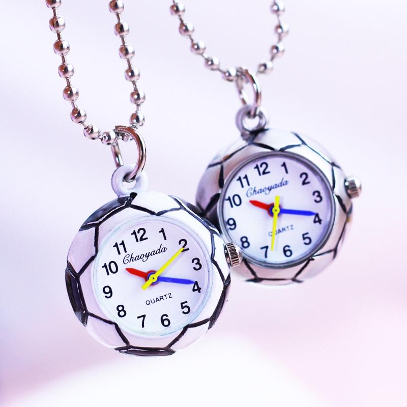 2018 Hot Seller Men Boys Cool Football Soccer Quartz Pocket Watches Children Kids Spherical Key Chains Personality Gifts Clock