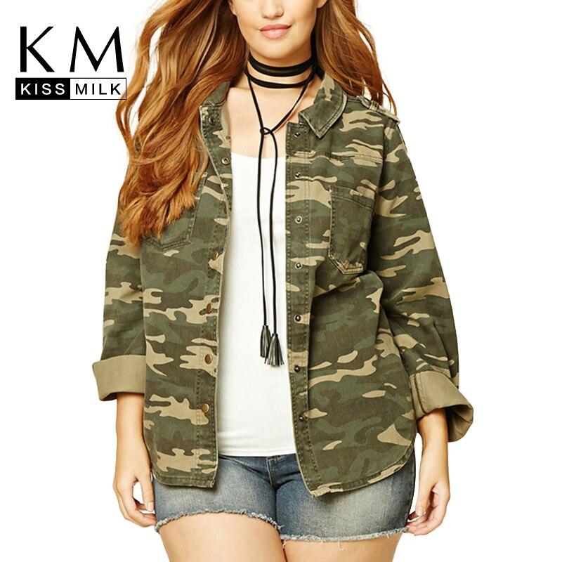 2017 Autumn Women Plus Size Lightweight Camouflage Jacket Military Camo Print Autumn Outfits Outwear Boyfriend Denim