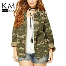 2017 Autumn Women Plus Size Lightweight Camouflage Jacket Military Camo Print Autumn Outfits Outwear Boyfriend Denim  Coats