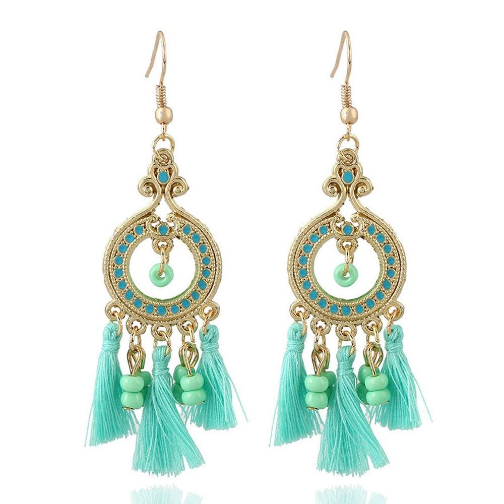 buy new design pentagram metal long tassel beads earrings boucles d 39 oreilles