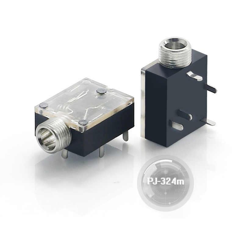 Бесплатная доставка 100 шт./лот PJ 324M 3 5 мм стерео аудио разъем/разъем с гайкой 5Pin PCB