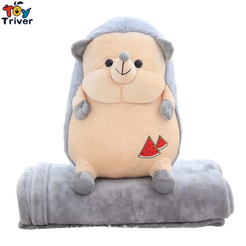Plush Hedgehog Portable Blanket Stuffed Toy Doll Baby Shower Car Air Condition Travel Rug Office Nap Carpet Birthday Gift Triver