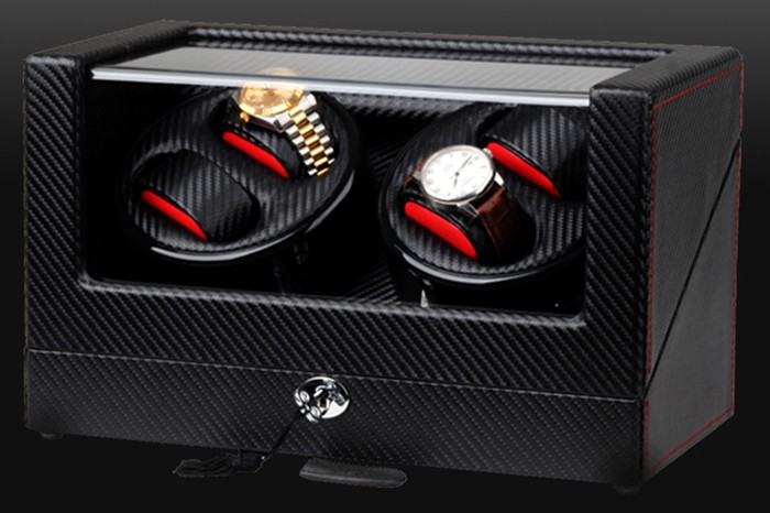 High end Ultra Quiet Carbon Fiber Watch Winder for 4 Automatic Watches
