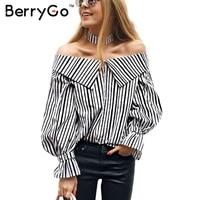 Berrygo長袖ブラウスシャツ女性トップス2017夏シュミーズファムカジュアルblusasオフショルダートップストライプシャツ付きチョーカ