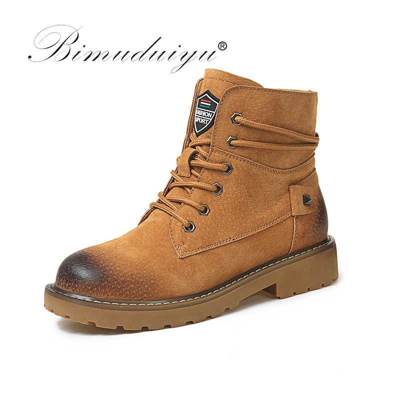 Bimuduiyu Thương Hiệu Thu Đông Da Thật Chính Hãng Da Lợn Da Lộn Cổ Chân Giày Chất Lượng Cao Lau Màu Thời Trang Giày Bốt Nữ Mới Tuyết giày