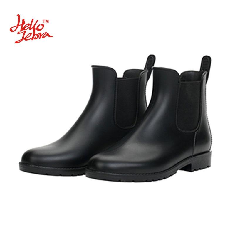 2018 Hellozebra Women Rain Boots Waterproof Fashion Ankle Rubber Elastic Band Solid Color Raining day Shoes Low Heel Pvc Garden