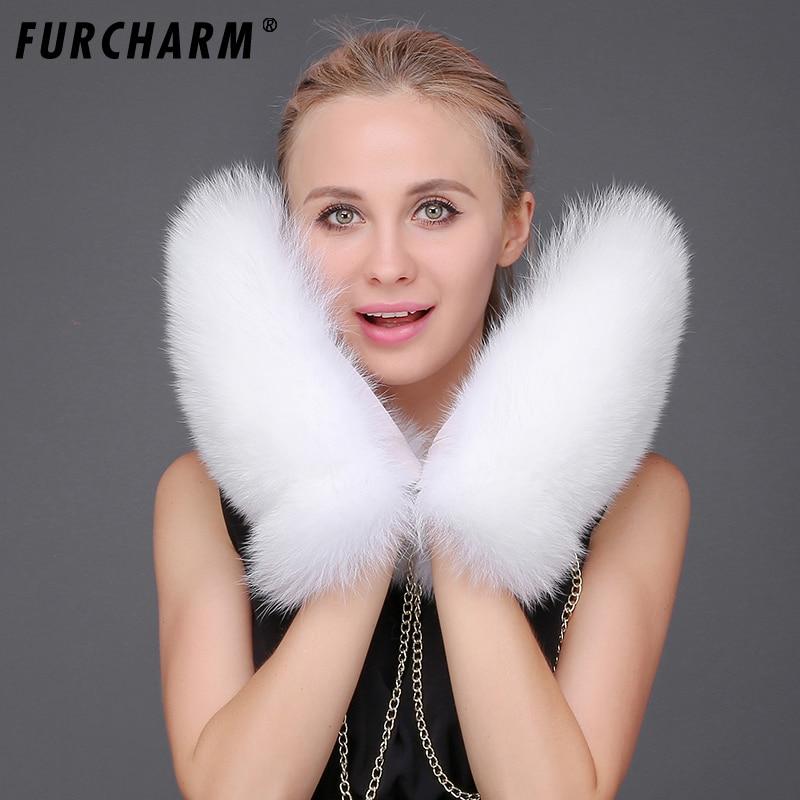 Gants et mitaines en fourrure de renard pour femmes gants doublés en cuir véritable nouveau gant russe amovible en fourrure de renard gant blanc hiver