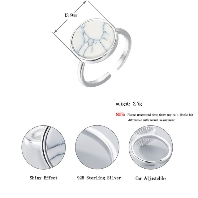 Todorova Female Fashion Ring Real 925 Sterling Silver Jewelry Natural Single White Round Stone Adjustable Rings for Women