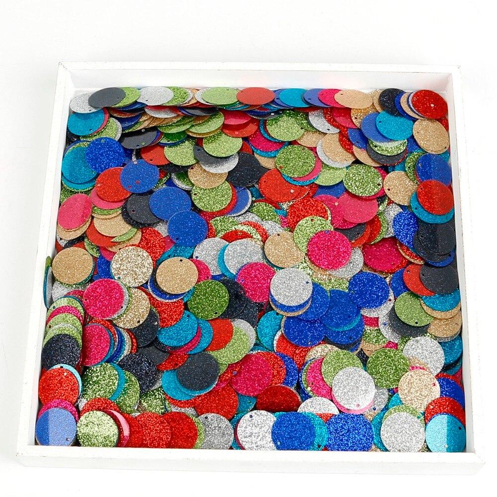 About 110pcs 20MM Round Flat Dot shape Sequins Paillettes for Nails Art manicure/wedding decoration confetti Mix colors