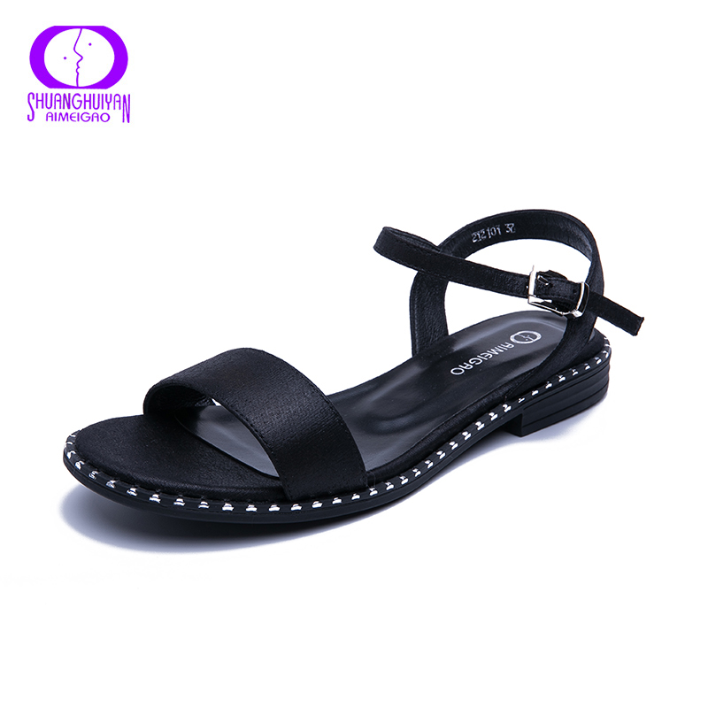 AIMEIGAO 2019 New Summer Sandals Women Casual Flat Sandals Comfortable Sandals For Women Large Size Womens Shoes AIMEIGAO 2019 New Summer Sandals Women Casual Flat Sandals Comfortable Sandals For Women Large Size Womens Shoes