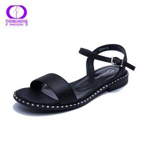 Image 2 - Женские повседневные сандалии AIMEIGAO, черные удобные босоножки на плоской подошве, большие размеры, лето 2019