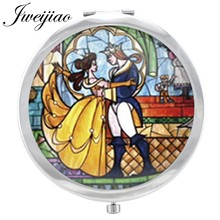 JWEIJIAO Cartoon Princess and Prince Glass Cabochon Makeup Mirror Beauty Comic Floding Round pocket mirror Magnifying espejo(China)