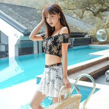 Hot Spring Three-piece Suit Push Up Bikini Woman Bikinis Swimwear 2019 Female Floral Bathing Suit shanqi polyester swimming suit woman smock bikini three piece small gather together steel support sexy hot spring swimwear