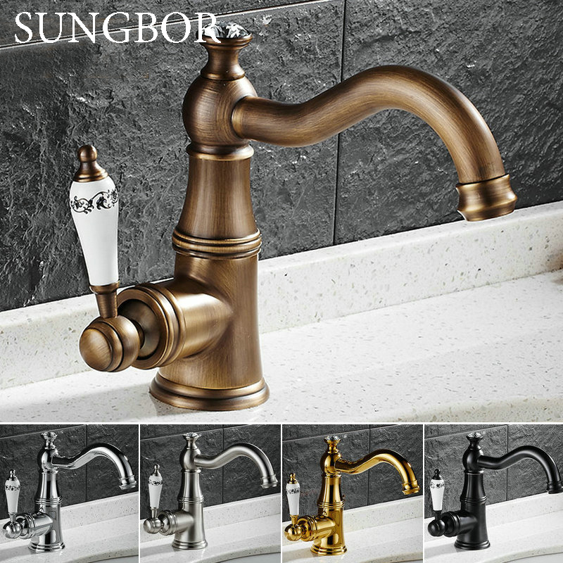 Ceramics Bathroom Faucet Antique Brass Basin Sink Faucet Single Handle water taps deck mounted стоимость