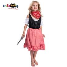 Eraspooky oeste vaquero Cosplay Halloween traje de los niños vaquera  vestido a cuadros chicas con bufanda carnaval fiesta de ves. ee5b782170a