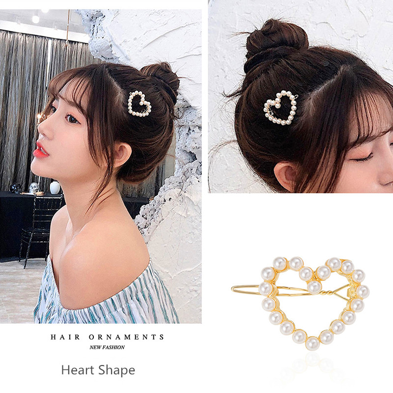 CHIMERA Fashion Heart Hair Clips for Women Girls Pearl Hairgrip Hollow out Metal Hairpin Korean Style Hair Accessories Headwear in Hair Jewelry from Jewelry Accessories