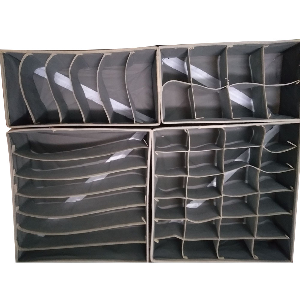 4Pcs/Set Underwear Organizer Multi Size Drawer Closet Organizer Box For Scarfs Socks Bra Collapsible Underwear Storage Box(China)