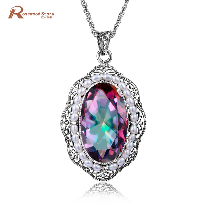 Luxury Natural Freshwater Pearl Necklace Pendant Mystic Rainbow Topaz Women Party Birthday 925 Sterling Silver Pearl CZ JewelryLuxury Natural Freshwater Pearl Necklace Pendant Mystic Rainbow Topaz Women Party Birthday 925 Sterling Silver Pearl CZ Jewelry