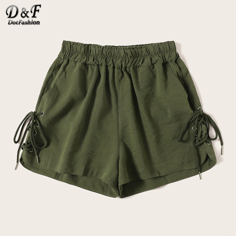 Dotfashion Army Green Casual Elastic Waist   Shorts   Women 2019 Summer Lace Up Detail   Shorts   Ladies Solid Mid Waist   Shorts