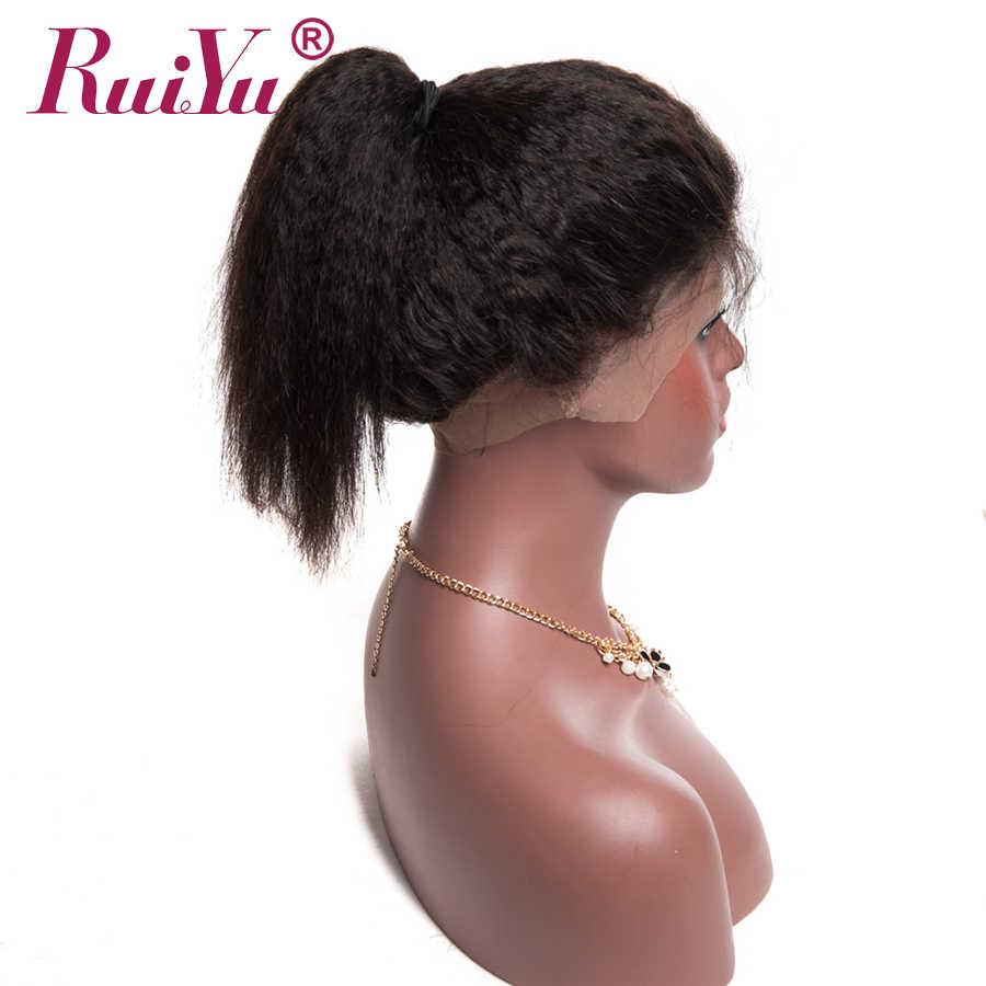 Pelo lacio rizado peruano Pre desplumado 360 cierre Frontal de encaje con pelo de bebé 100% cabello humano Remy Color Natural RUIYU pelo