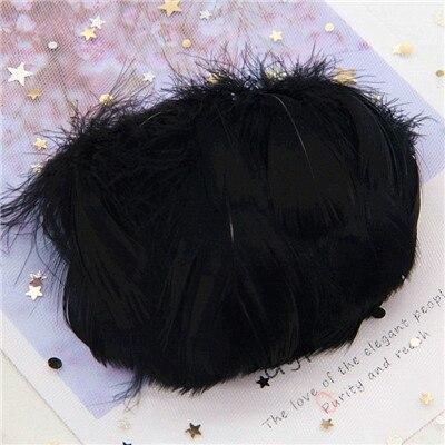 Натуральные гусиные перья 4-8 см, маленькие плавающие цветные перья лебедя, Плюм для рукоделия, свадебные украшения, украшения для дома, 100 шт - Цвет: black 100pcs