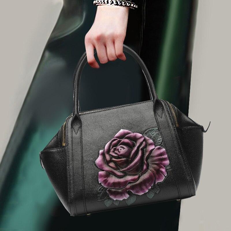 Witfox Leder Brieftasche Frauen 2019 Luxus Schafe Haut Echtem Leder Schulter Tasche Stickerei Elefanten Muster Damen Taschen Weibliche Damentaschen