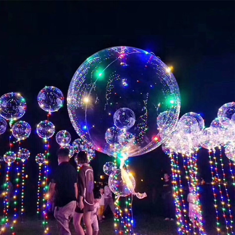 18 Inch Luminous Led Balloon 5M LED Air Balloon String Lights Round Bubble Helium Balloons Led Ball Wedding Party Decoration ...
