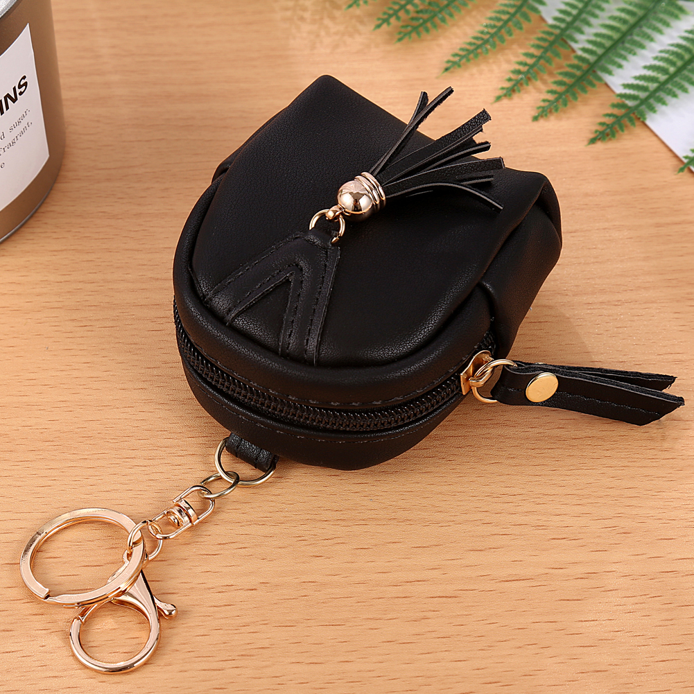 Fashion Women Tassels Zip Faux Leather Coin Pouch Mini Key Chain Backpack Bag ...