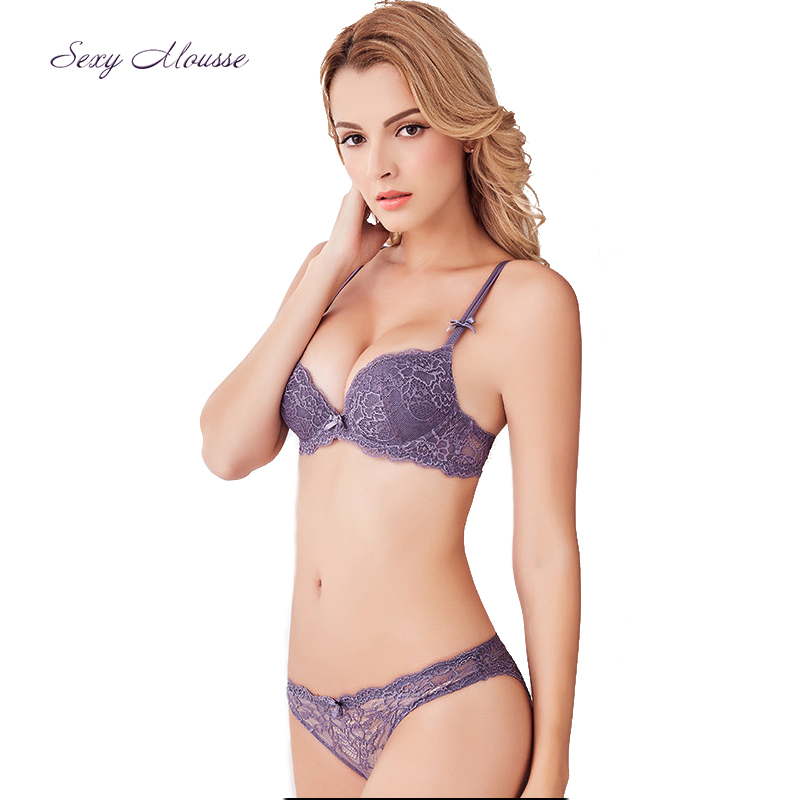 Sexy Mousse Summer new thick 2 buckle adjustable bra set large size sexy lace Europe and the United States underwear