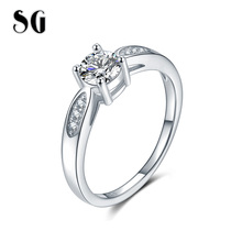 купить SG Real 100% 925 Sterling Silver Fairytale Sparkling Ring Finger Ring with Clear CZ for Women 2019 Wedding Engagement Jewelry дешево