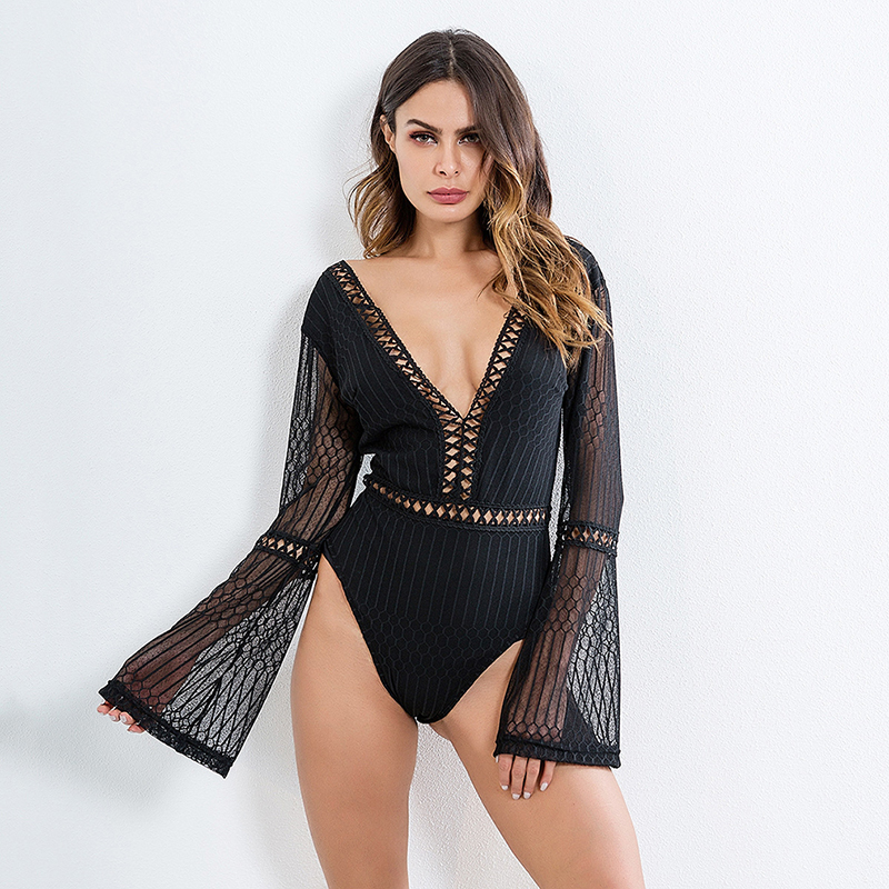 2019 Female Sexy Deep V-Neck Backless Slim Rompers Lace Patchwork Bodysuit Women Long Sleeve Summer Beach Hot Bodysuits
