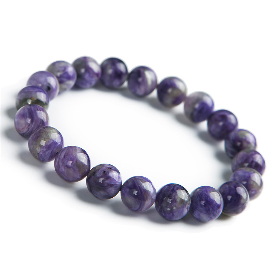 10mm Genuine Purple Natural Charoite Stone Bracelets For Women Femme Charm Crystal Round Bead Stretch Bracelet genuine green seraphinite natural stone crystal round beads 14mm women mens stretch bracelets