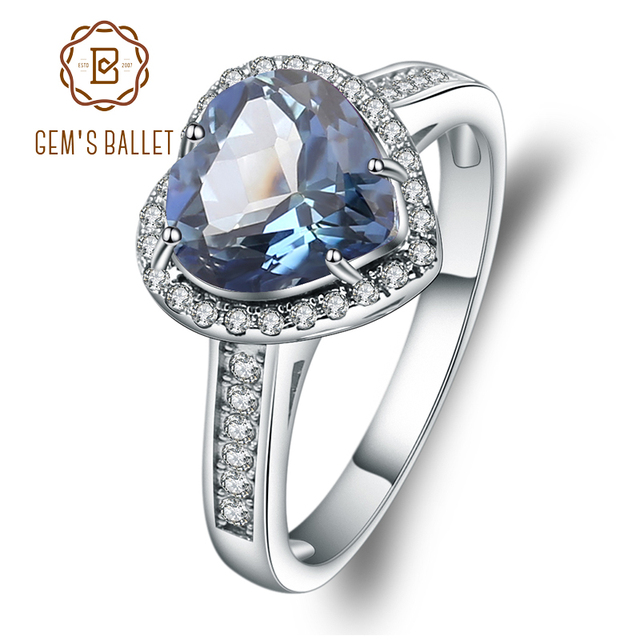 GEMS בלט 925 סטרלינג כסף לב צורת 2.47Ct הטבעי Iolite כחול מיסטיק קוורץ חן טבעות לתכשיטי נשים