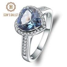 Gems balé de prata esterlina 925, formato de coração, 2,47ct, natural, iolite, azul, místico, anéis de pedra preciosa para mulheres, joias finas