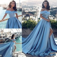 Modern Arabic Light Blue Formal Prom Dresses 2018 African Elegant Off The Shoulders Front Split Popular Evening Prom Gowns JQ180