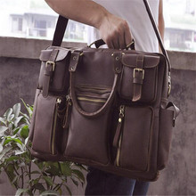 2017 New Foreign Trade Import Men Crazy Horse Leather Men Handbags 16 Inches Big Capacity  Laptop Bag 3061 Hot Selling