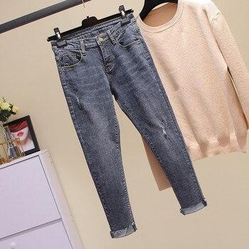 0f4b47b918 L-4XL más tamaño nuevo Ripped Ladies Stretch alta cintura Jeans Mujer negro  lápiz Casual pantalones vaqueros puños Jeans Mujer
