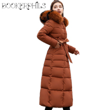 X-Long Women Jacket Winter 2019 Fashion Slim Cotton Padded Womens Jackets Fur Collar Warm Thicken Ladies Coat Long Coats Parkas цены