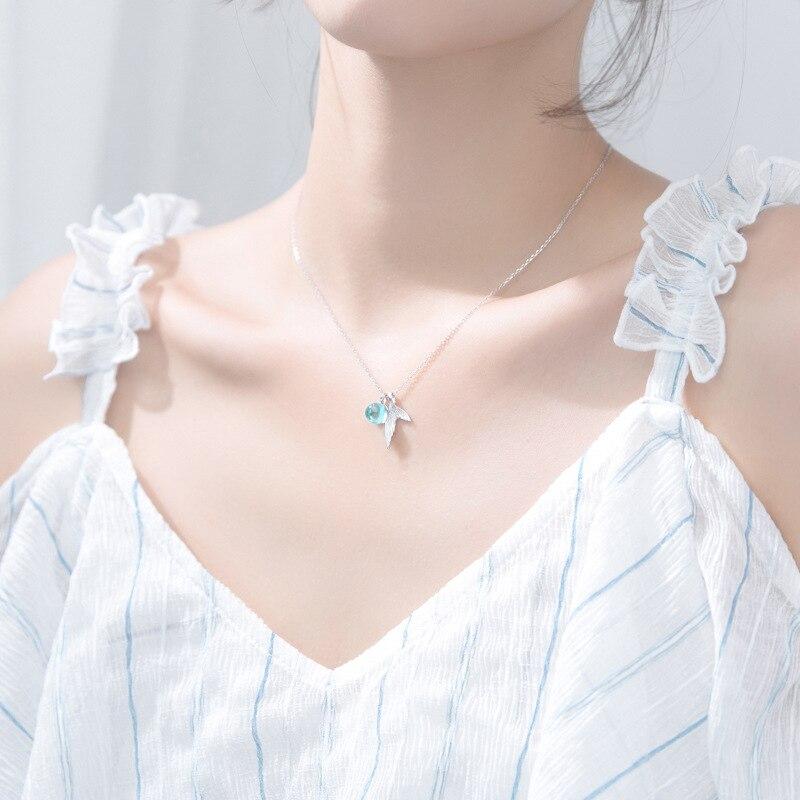 Véritable 925 argent Sterling bohême queue de sirène bleu cristal larmes pendentif collier bijoux fins pour les femmes NA01