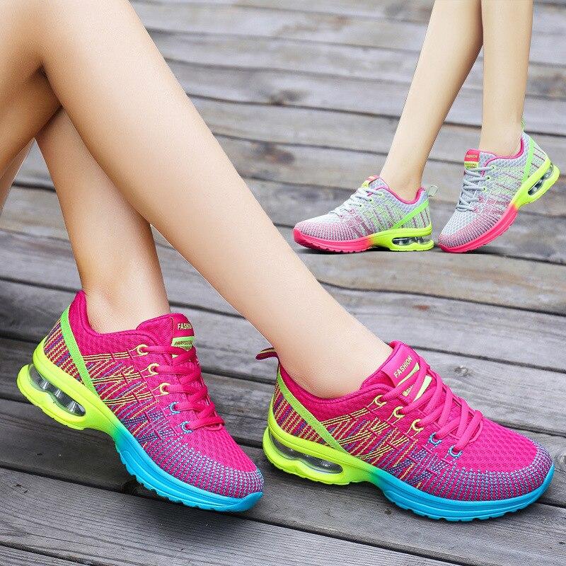2018 Frauen Schuhe Frühling Herbst Neue Sport Damen Schuhe Wandern Atmungsaktiv Mesh Flache Schuhe Beiläufige Laufende Turnschuhe Plattform Schuh Feines Handwerk