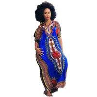 Feitong מסורתי עיצוב 2017 אופנה הדפסת אפריקה דאשיקי נחמד צוואר רקום שמלות אפריקאיות נשים vestidos femininos