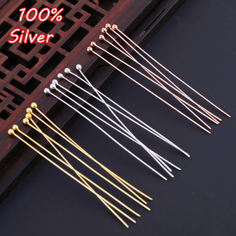 6pcs 925 Sterling Silver Jewelry Needle DIY Accessories Round Needle Wear Beaded Silver Needle Handmade Pearl Silver Needle