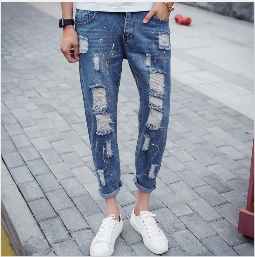 ФОТО 28-36 New men Casual jeans Slim tide beggar hole jeans feet pants destroyed denim straight biker jeans ripped Ink splashes pants